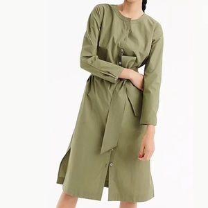 J Crew NWT 2018 green long sleeve shirt dress